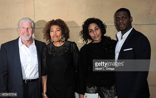 Actor Ron Perlman wife Opal Perlman daughter Blake and boyfriend arrive for the premiere Of Skin Trade held at the Egyptian Theatre on May 6 2015 in...