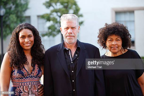 Actor Ron Perlman with daughter Blake Perlman and wife Opal Perlman arrive to the Sons of Anarchy Season 2 premiere screening held at the Paramount...