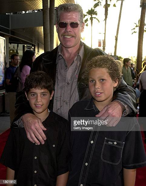 Actor Ron Perlman with his sons Brandon and Joe arrive at the premiere of Titan AE June 13 2000 in Los Angeles CA