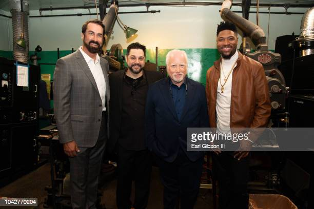 Actor Ron Riggle festival director Ron Truppa actor Richard Dreyfuss and actor London Brown tour the projection room at the 8th Annual Catalina Film...