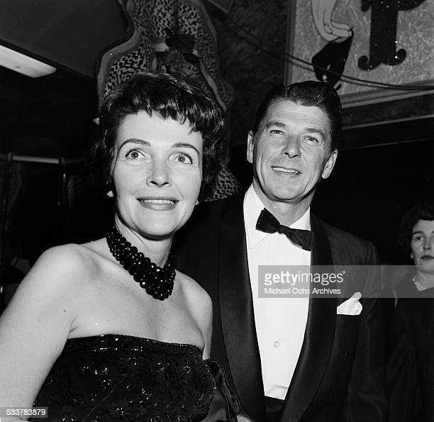 Actor Ronald Reagan and his wife actress Nancy Reagan attend an event in Los AngelesCA
