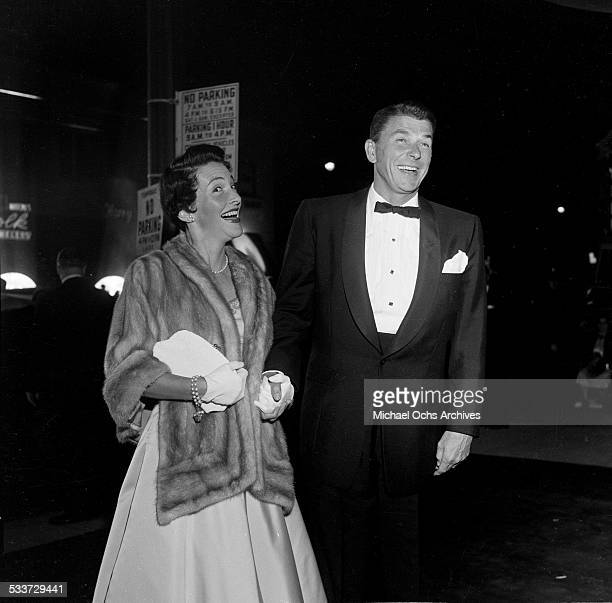 Actor Ronald Reagan and wife actress Nancy Reagan attend the premiere of High and Mighty in Los AngelesCA
