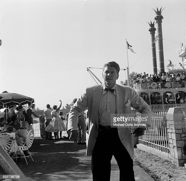 Actor Ronald Reagan attends the opening day of Disneyland in Anaheim CA