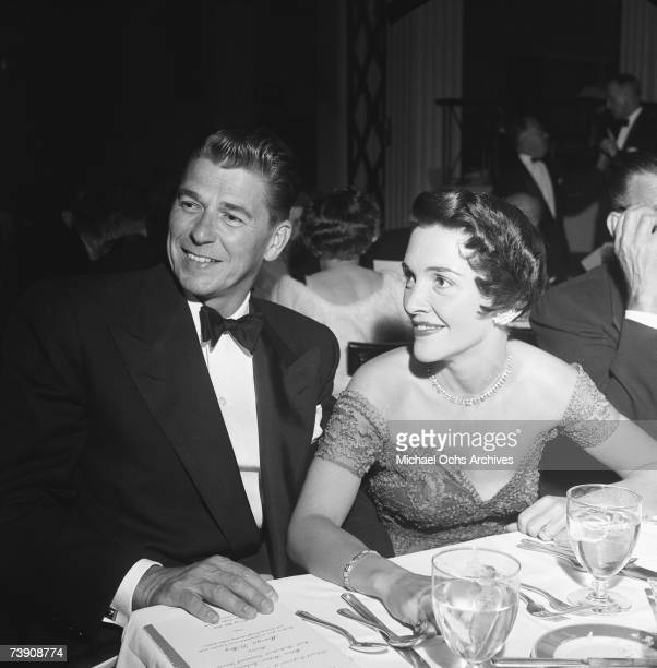 Actor Ronald Reagan with wife Nancy Reagan attend the National Council of Christian and Jews dinner on October 15 1953 in Los Angeles California