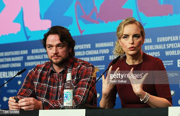 Actor Ronald Zehrfeld and actress Nina Hoss attends the 'Barbara' Press Conference during day three of the 62nd Berlin International Film Festival at...