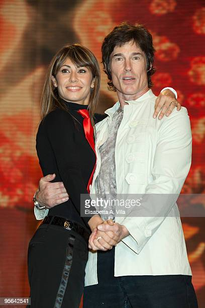 US actor Ronn Moss and his dance partner Sara Di Vaira attend a photocall for the Italian TV show 'Ballando Con Le Stelle' at Auditorium RAI on...
