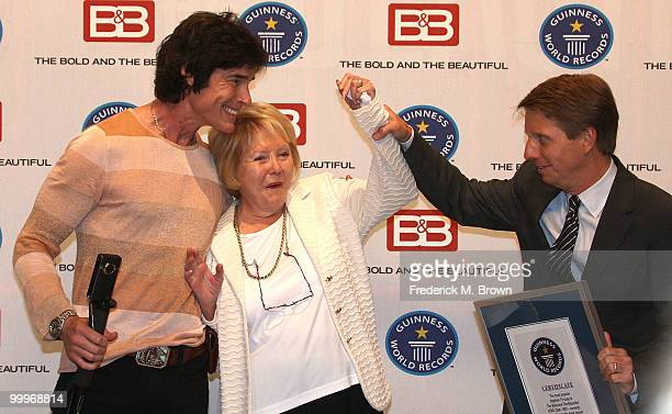 Actor Ronn Moss Lee Phillip Bell and executive producer/head writer Bradley P Bell of the television show The Bold and the Beautiful attend the...