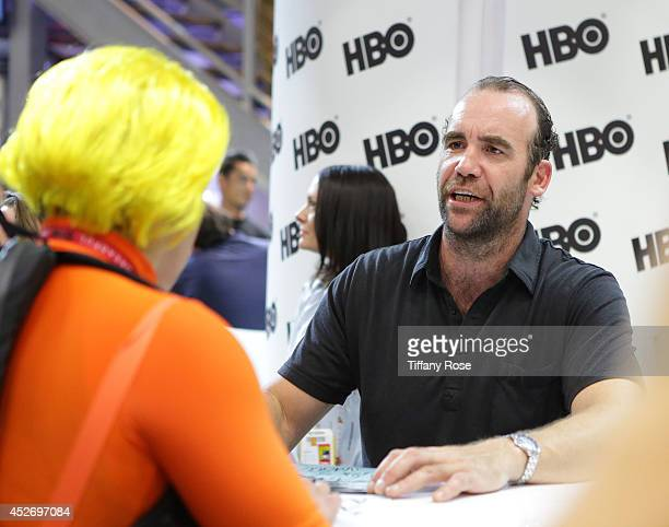 Actor Rory McCann of 'Game of Thrones' signs autographs during the 2014 ComicCon International ConventionDay 3 at the San Diego Convention Center on...