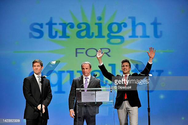 Actor Rory O'Malley and Gavin Creel on stage with Marriott's Randy Griffin PFLAG National's 2012 Straight For Equality Awards Gala at Marriott...