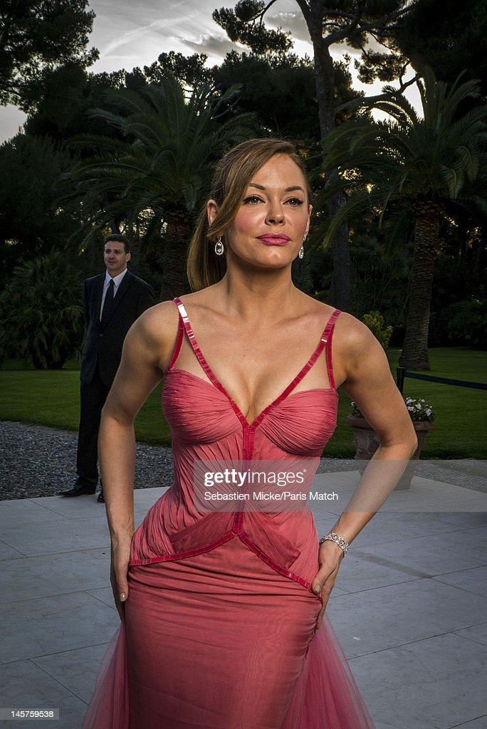 Actor Rose McGowan photographed at the amfAR gala for Paris Match on May 24, 2012 in Cap d'Antibes, France.