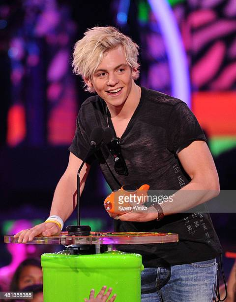 Actor Ross Lynch accepting the award for Favorite TV Actor during Nickelodeon's 27th Annual Kids' Choice Awards held at USC Galen Center on March 29...