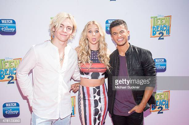 Actor Ross Lynch Mollee Gray and Jordan Fisher attends the premiere of Disney Channel's Teen Beach 2 at Walt Disney Studios on June 22 2015 in...