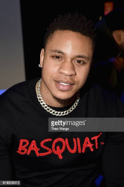 Actor Rotimi attends the Laquan Smith front row during New York Fashion Week The Shows at Gallery I at Spring Studios on February 14 2018 in New York...