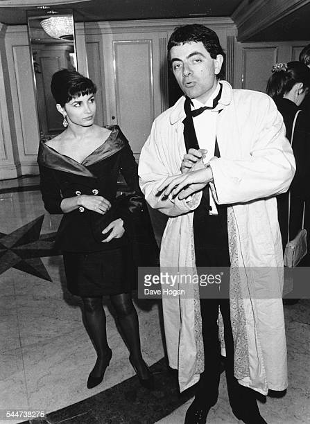 Actor Rowan Atkinson and his wife Sunetra Sastry attending the BAFTA Awards London March 20th 1988