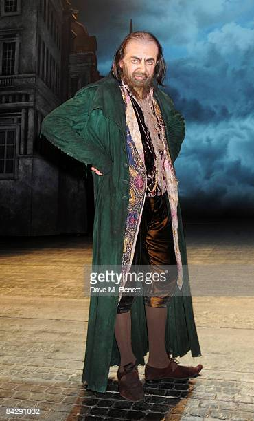 Actor Rowan Atkinson poses backstage at the opening night of 'Oliver' at the Theatre Royal Drury Lane on January 14 2009 in London England