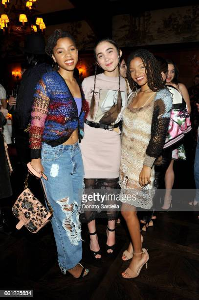 Actor Rowan Blanchard and actors/singers Chloe Bailey and Halle Bailey attend the Coach Rodarte celebration for their Spring 2017 Collaboration at...