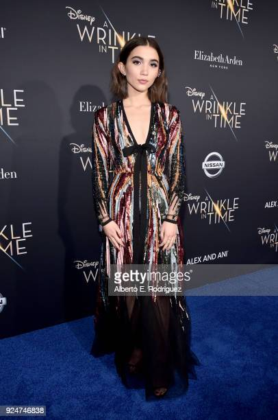 Actor Rowan Blanchard arrives at the world premiere of Disney's 'A Wrinkle in Time' at the El Capitan Theatre in Hollywood CA Feburary 26 2018