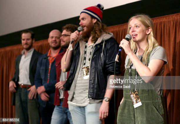 Actor Rowan Davie composer Nicholas Pollock actor Lloyd AllisonYoung director Gregory Erdstein and actor Alice Foulcher speak onstage at a screening...