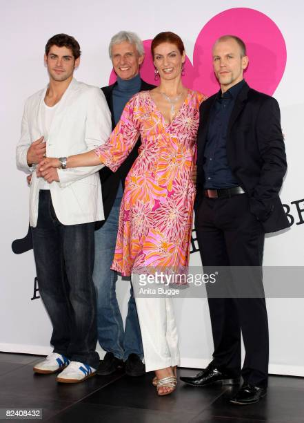 Actor Roy Peter Link actor Mathieu Carriere actress Franziska Matthus and actor Lars Loellmann attend a photocall to the new German television SAT1...