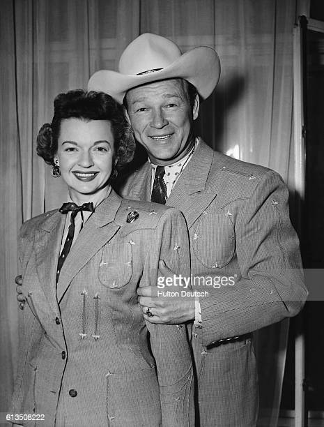 cfa3b1a2ea2 Actor Roy Rogers and his wife actress Dale Evans in London 1954