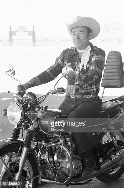 Actor Roy Rogers known as the singing cowboy seen here on a Honda motorbike instead of his trusted stead 'Trigger' at the Roy Rogers museum in Apple...