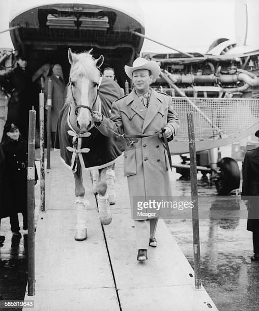 Actor Roy Rogers the 'King of Cowboys' arriving with his horse Trigger at Northolt Airport March 20th 1954