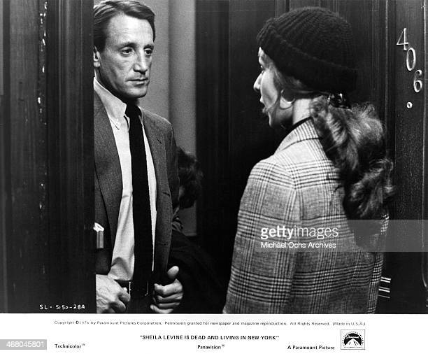 "Actor Roy Scheider and actress Jeannie Berlin on set of the movie ""Sheila Levine Is Dead and Living in New York"" , circa 1975."