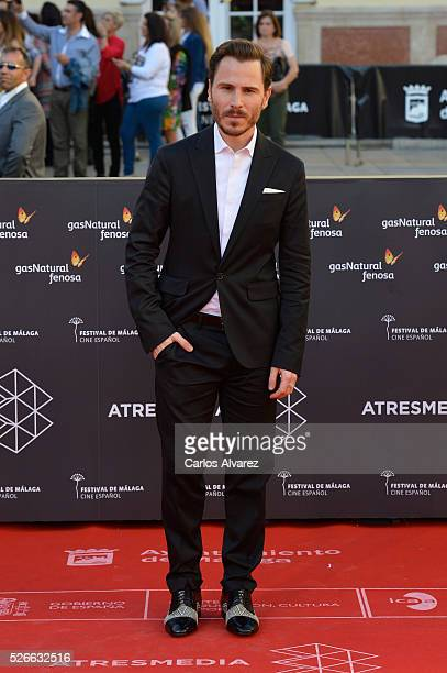 Actor Ruben Ochandiano attends Nuestros Amantes premiere at the Cervantes Teather during the 19th Malaga Film Festival on April 30 2016 in Malaga...