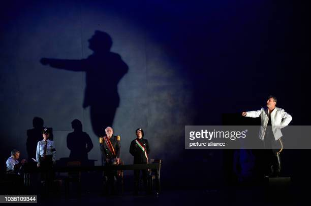 Actor Rudolf Kowalski in the main role rehearses a scene from Henry IV by Luigi Pirandello for the Ruhr Festival in Recklinghausen,Germany, 08May...