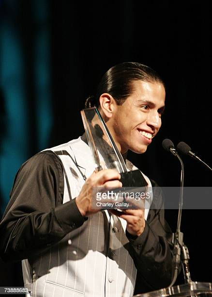 Actor Rudy Youngblood receives a Best Actor award for his role in 'Apocalypto' at the 15th Annual First Americans in the Arts Awards ceremony at the...