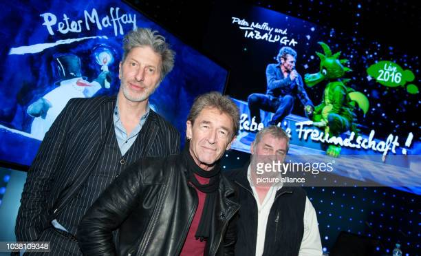 Actor Rufus Beck , singer Peter Maffay and actor Heinz Hoenig posing for the live tour of the current Tabaluga album 'Es lebe die Freundschaft' in...