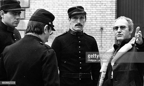 Actor Rufus filming 'La Chanson du mal aimé' directed by Claude Weisz France 12/1980 The film is a biopic of French poet Guillaume Apollinaire
