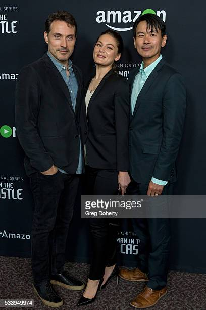 Actor Rufus Sewell Actress Alexa Davalos and Actor Joel De La Fuente arrive at the Amazon Original Series 'The Man In The High Castle' Emmy FYC...