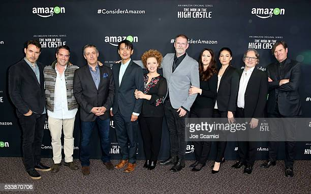 Actor Rufus Sewell Amazon Head of Drama Development Morgan Wandell Director David Semel Actor Joel de la Fuente costume designer Audrey Fisher...