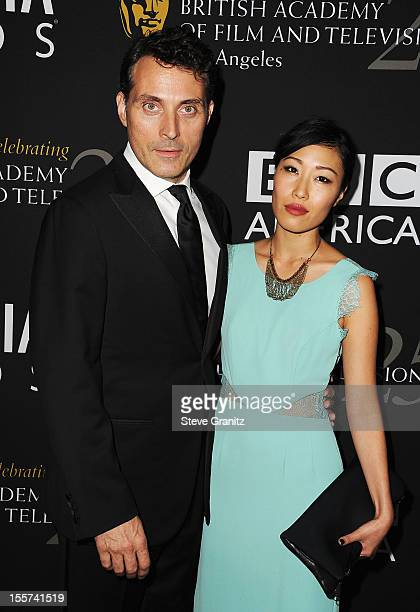 Actor Rufus Sewell and guest arrive at BAFTA LA 2012 Britannia Awards Presented By BBC America at The Beverly Hilton Hotel on November 7, 2012 in...