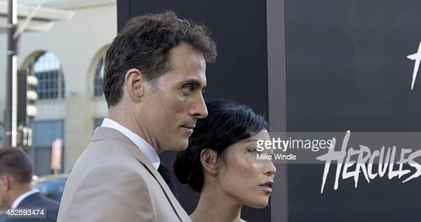 Actor Rufus Sewell and guest attend the Los Angeles premiere of Hercules at TCL Chinese Theatre on July 23 2014 in Hollywood California