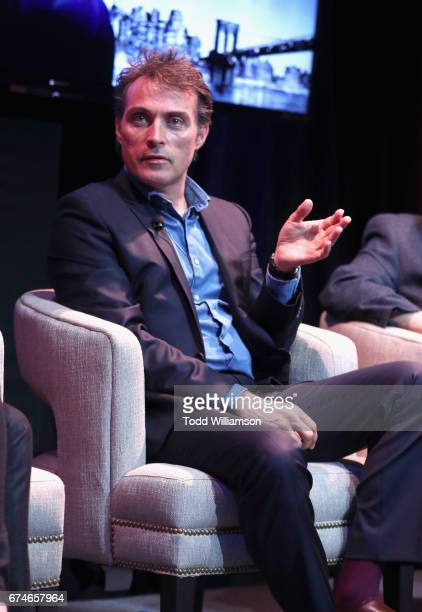 Actor Rufus Sewell speaks at the Amazon Original Series The Man in the High Castle Emmy FYC screening and panel at the Hollywood Athletic Club on...