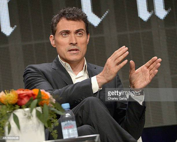 Actor Rufus Sewell speaks onstage during the 'The Man In The High Castle' panel discussion at the Amazon Studios portion of the 2015 Summer TCA Tour...