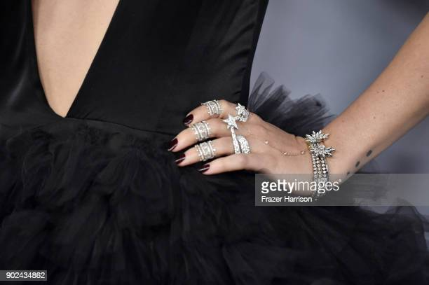 Actor Rumer Willis jewelry detail attends 19th Annual PostGolden Globes Party hosted by Warner Bros Pictures and InStyle at The Beverly Hilton Hotel...