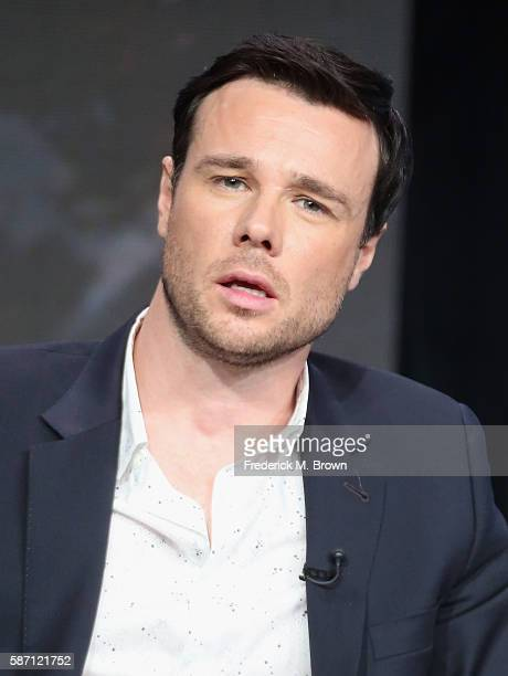 Actor Rupert Evans speaks onstage at 'The Man in the High Castle' panel discussion during the Amazon portion of the 2016 Television Critics...
