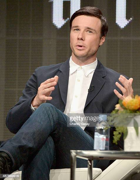 Actor Rupert Evans speaks onstage during the 'The Man In The High Castle' panel discussion at the Amazon Studios portion of the 2015 Summer TCA Tour...