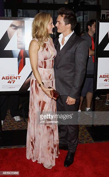 Actor Rupert Friend and girlfriend Aimee Mullins attend the 'Hitman Agent 47' New York premiere at AMC Empire 25 theater on August 13 2015 in New...