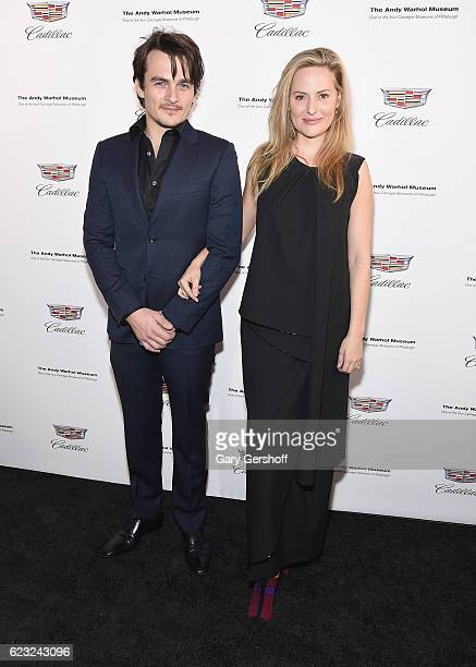 Actor Rupert Friend and wife Aimee Mullins attend the 'Letters To Andy Warhol' exhibition opening at Cadillac House on November 14 2016 in New York...
