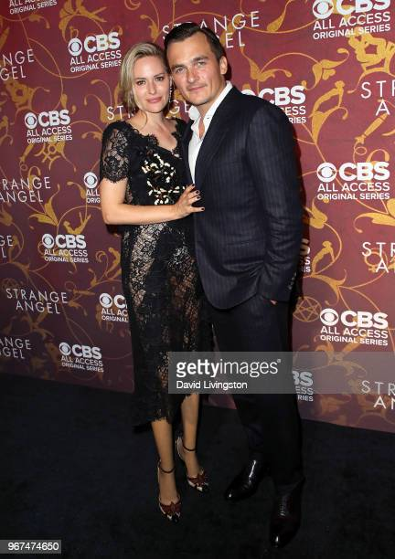 Actor Rupert Friend and wife Aimee Mullins attend the premiere of CBS All Access' 'Strange Angel' at Avalon on June 4 2018 in Hollywood California