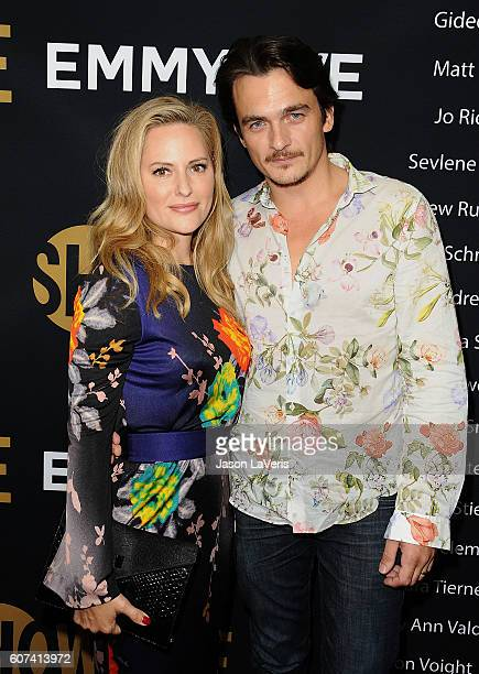 Actor Rupert Friend and wife Aimee Mullins attend the Showtime Emmy eve party at Sunset Tower on September 17 2016 in West Hollywood California