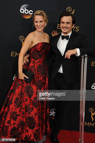Actor Rupert Friend and wife/actress Aimee Mullins attend the 68th Primetime Emmy Awards at Microsoft Theater on September 18 2016 in Los Angeles...