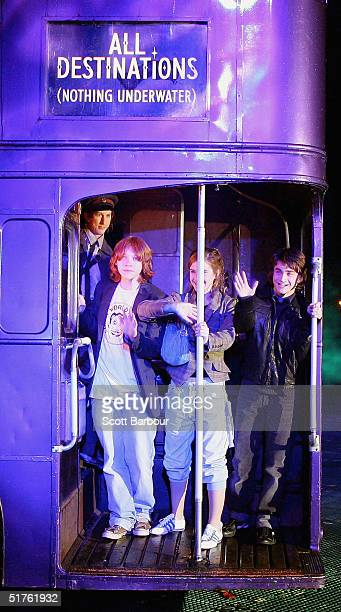 Actor Rupert Grint Actress Emma Watson and Daniel Radcliffe arrive on the magical purple Knight bus during the Harry Potter And The Prisoner Of...