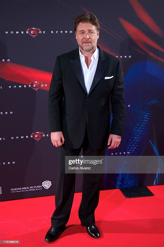 Actor Rusell Crowe attends the 'Man of Steel' (El Hombre de Acero) premiere at the Capitol cinema on June 17, 2013 in Madrid, Spain.