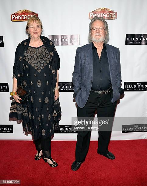 Actor Russ Tamblyn and wife Bonnie Murray Tamblyn attend the premiere of The Illusionists Live From Broadway at the Pantages Theatre on February 23...