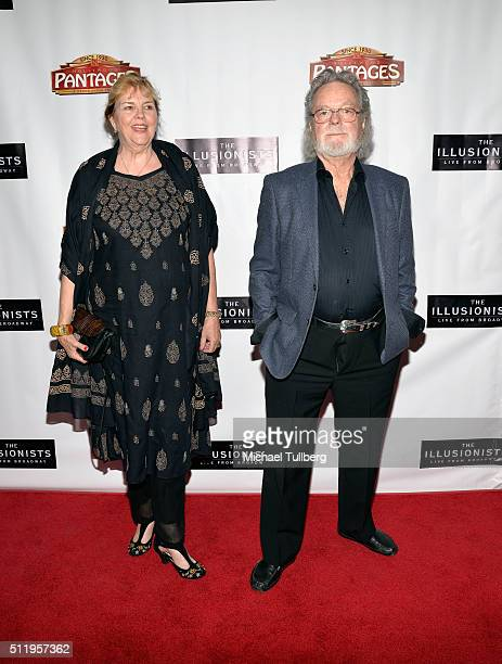 """Actor Russ Tamblyn and wife Bonnie Murray Tamblyn attend the premiere of """"The Illusionists - Live From Broadway"""" at the Pantages Theatre on February..."""